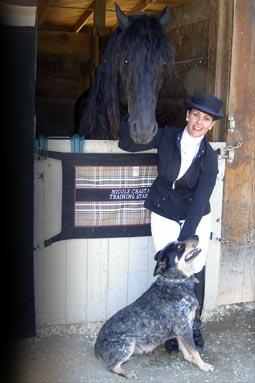 Nicole with Beake (one of her advanced horses) and Smoochie, her Australian Heeler dog.
